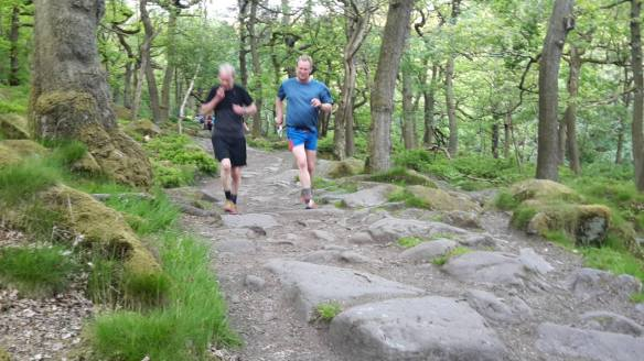 Tony and Leon Testing the start of the Descent into Padley Gorge